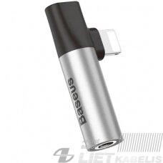 Adapteris IP Lightning kištukas - 3.5mm stereo lizdas, su krovimo galimybe sidabrinis/juodas BASEUS
