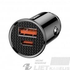 Automobilinis įkroviklis 12-24V USB ir USB-C greitas įkrovimas QC4.0 SCP, 30W, juodas