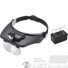 Didinamasis stiklas - akiniai ant galvos, su pašvietimu ir papildomais lęšiais