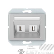 Duomenų perdavimo USB lizdas, 2 vietų,  be rėmelio, baltas, XP500