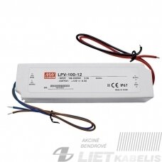 Impulsinis maitinimo šaltinis LED, 12V, 8.5A, IP67, MEAN WELL