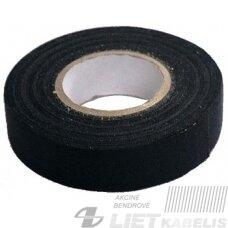 Izoliacinė juosta, tekstilinė, minkšta, juoda, 19mmx15m
