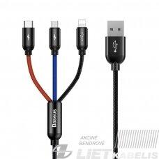 Kabelis USB2.0 A kištukas ir 3 kištukai (USB C, micro USB, lightning) juodas BASEUS