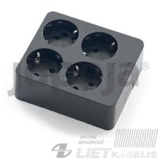 Kištukinis lizdas 4 vietų, su įžeminimu, 2504-N juodas, Famatel