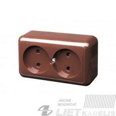 Kištukinis lizdas PKL 10-003 2 vietų, virštinkinis, ruda Delta+