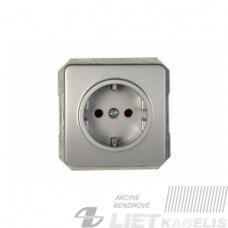Kištukinis lizdas RP16-002-02 su įžeminimu, be rėmelio, metalo sp., Lx-200