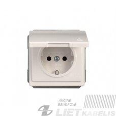 Kištukinis lizdas RP16-003-02 su įžeminimu, s/d IP44 baltas, SL 250