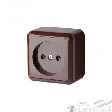 Kištukinis lizdas  DELTA 1 vietos, paviršinis, be įž., rudos spalvos, PKL 10-002 R, ligegus