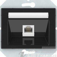 Kompiuterio lizdas, 1 vietos, 6k.KLRJ45-16e2-02 be rėmelio, juodas, matinis, QR1000