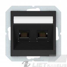 Kompiuterio lizdas, 2 vietų, 6k.KLRJ45-26e2-02 be rėmelio, juodas, matinis, QR1000