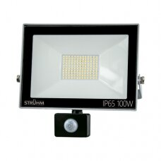 LED prožektorius su davikliu, (pilkas) 100W, 6500K, IP65, STRUHM