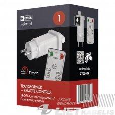 LED šviesos girliandų Transformer +  remote control jungimo blokas ZY2300R,  30Vdc, 12W, su pulteliu, IP44,