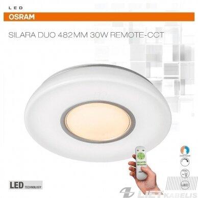 LED šviestuvas SILARA DUO apvalus su nuotolinio valdymo pulteliu, 30 W, 3000-6500K, 2700lm, IP20, Osram
