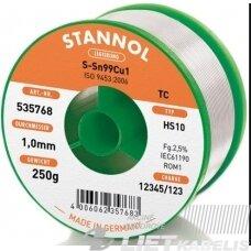Lydmetalis Sn99Cu1 1.0mm 250g su fliusu STANNOL