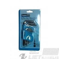 Šešiakampių raktų komplektas, YF-70002 1.5-10mm, Vagner