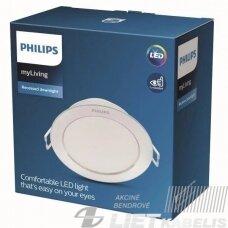Šviestuvas LED 6W įleidžiamas, apvalus, 4000K, 550lm IP20, PHILIPS