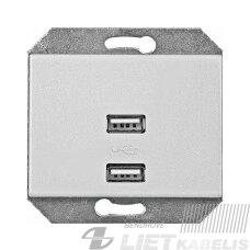 USB lizdas krovikliui, 2 vietų, 5V DC 2,1 potinkinis, be rėmelio, baltas, XP500