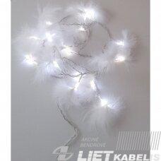 Vidaus girlianda su plunksnomos nekeičiamomis lemputėmis, šaltai balta