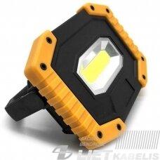 Žibintas LED COB 10W, LEDW841, 13.5x9.5x3.7cm įkraunamas USB